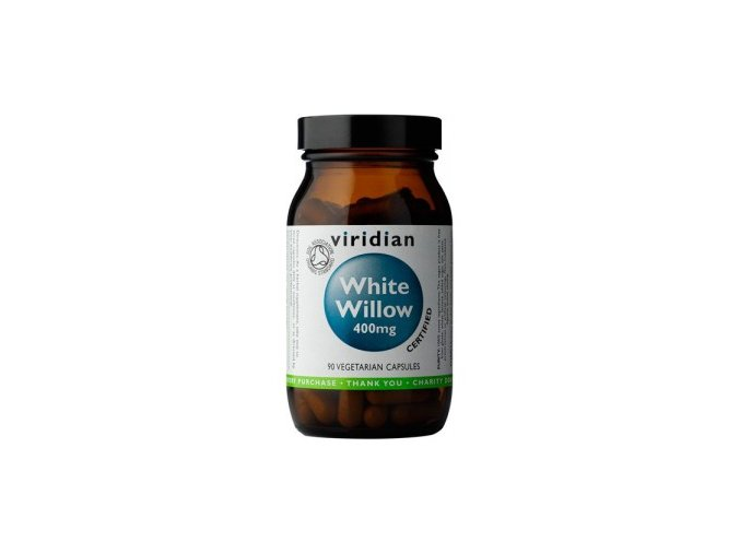Viridian Nutrition Organic White Willow Bark 400mg 90 kapslí