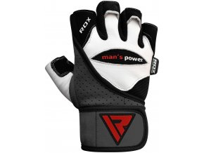 RDX Leather Men's Power Gym WeightLifting Rukavice Biele