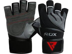 RDX Deepoq Leather Fitness Rukavice Sivo/Černá