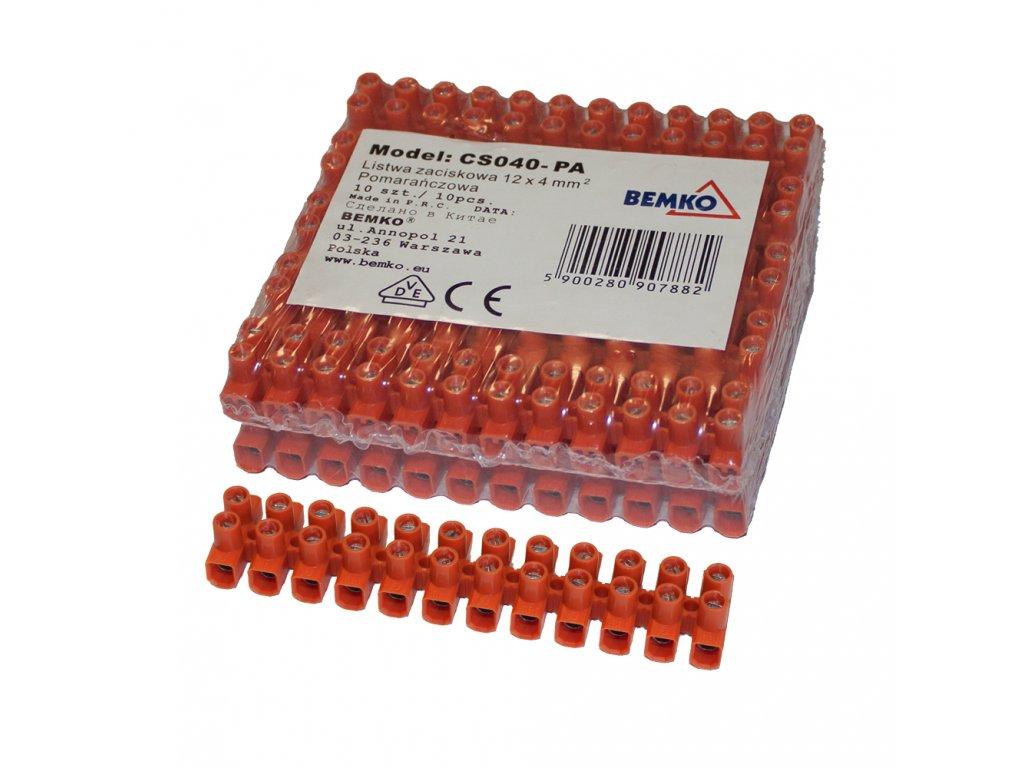 """řadová svorkovnice """"čokoláda"""" zesílená 4mm2 oranžová - 10ks"""