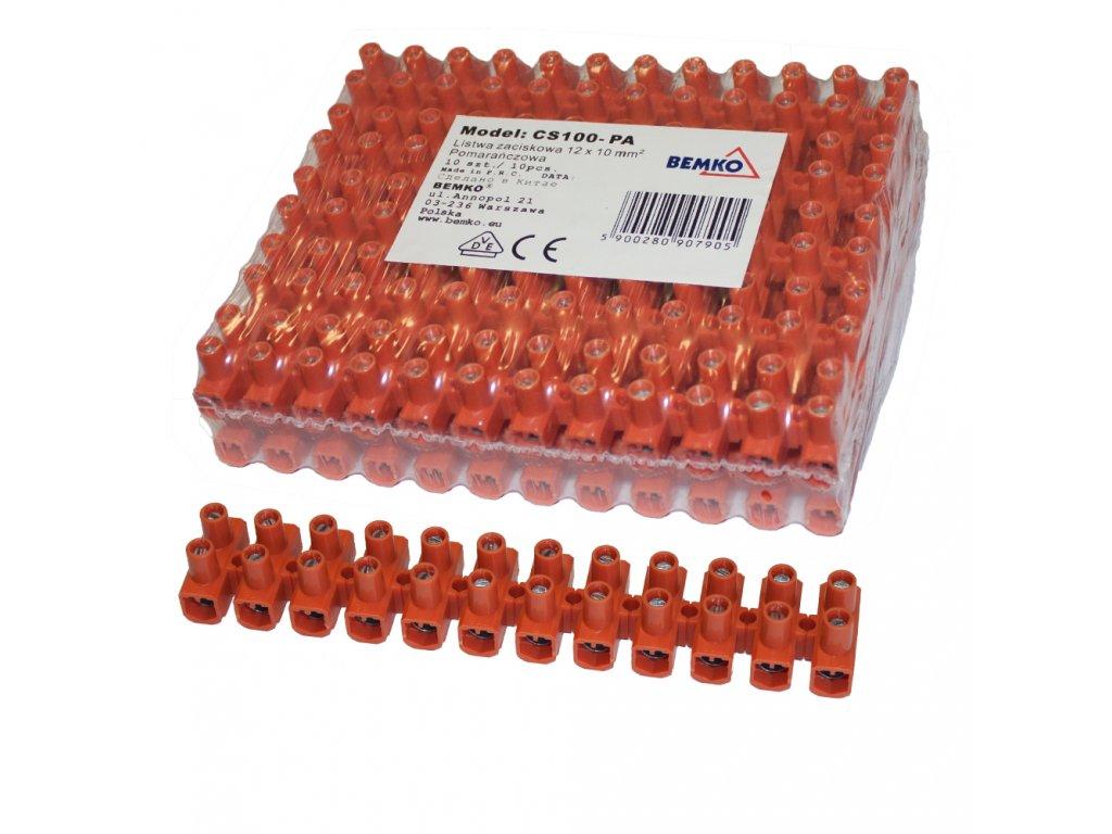 """řadová svorkovnice """"čokoláda"""" zesílená 10 mm2 oranžová - 10ks"""