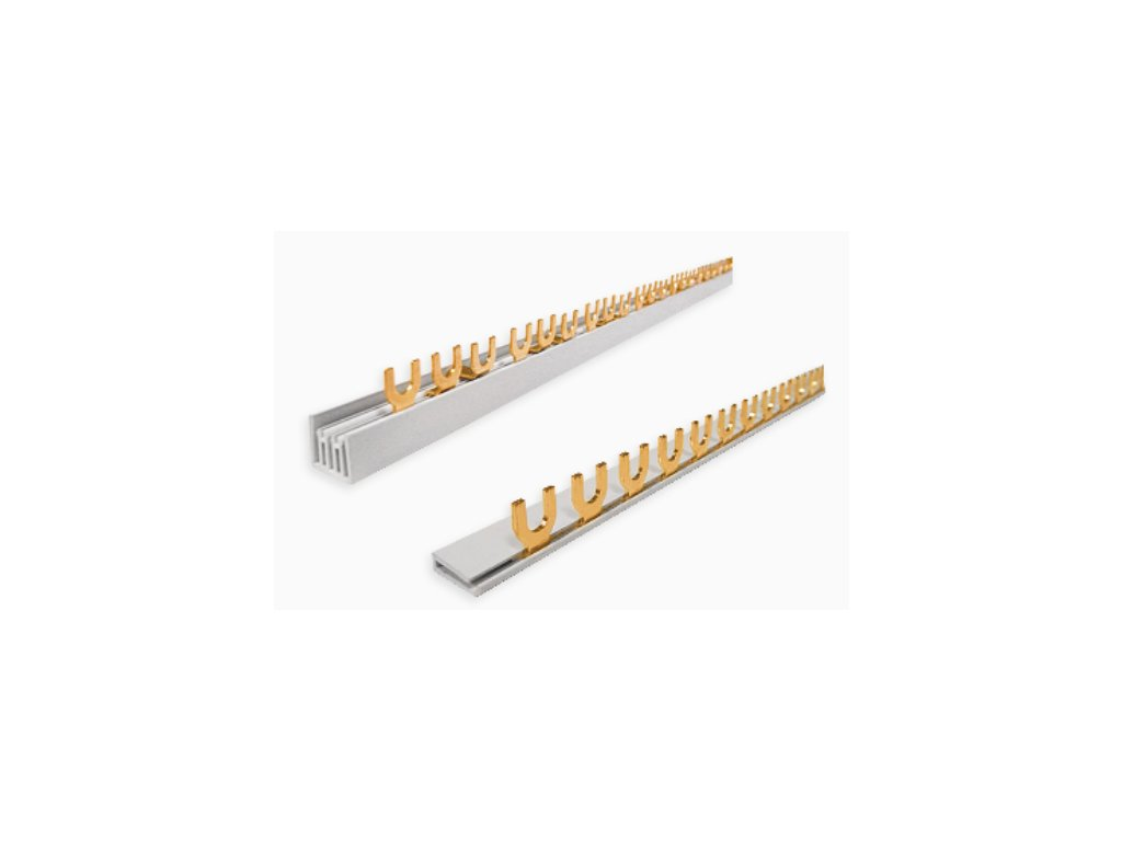 Proudové přípojnice - krátké (Varianta PŘÍPOJNICE 1003/4, Hřebenová přípojnice Typ 3 Pól, 100 A, 4 moduly)
