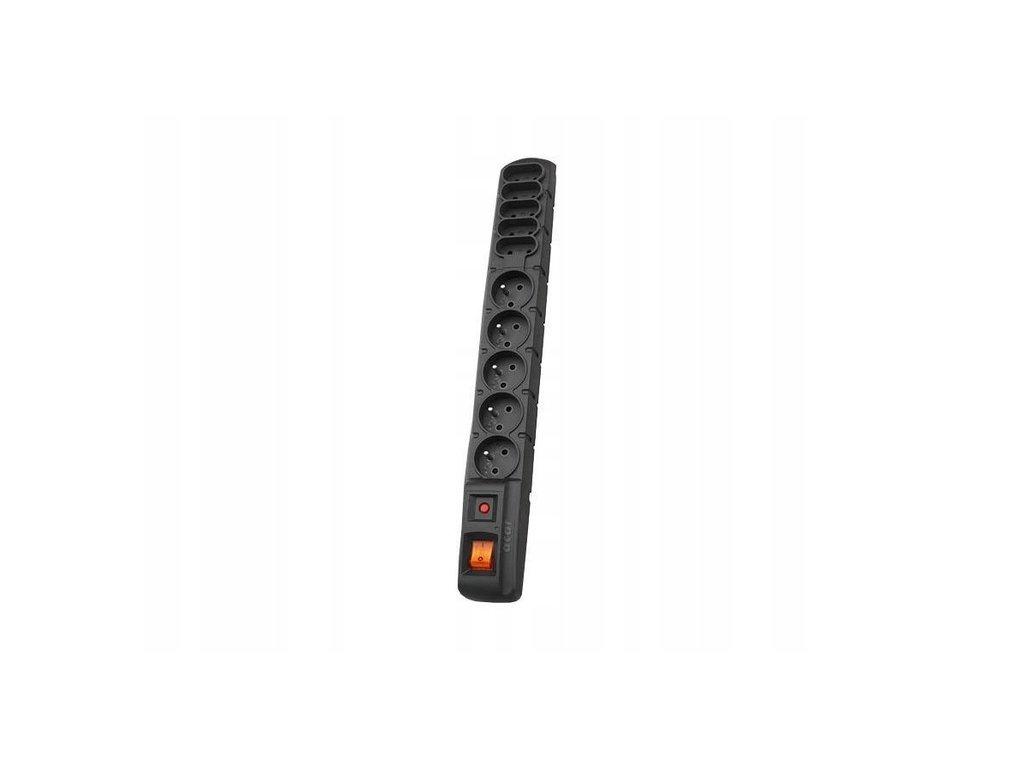 S10 - prodlužovací přívody s přepěťovou ochranou - ČERNÁ (Varianta P. přívod s přepěťovou ochranou, 5x2p+Z a 5x2P, 3x1mm 10A, 5m)