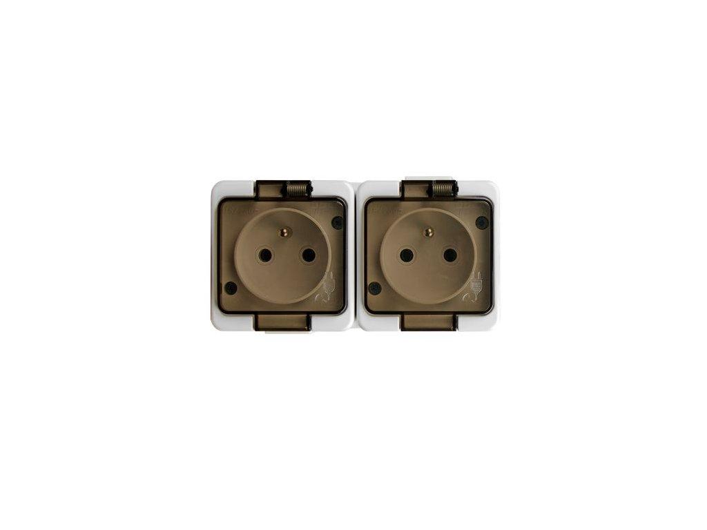 30521 nt 6sl zasuvka dvojnasobna 2x2p z 16a 250v s kourovym vickem ip44 bila