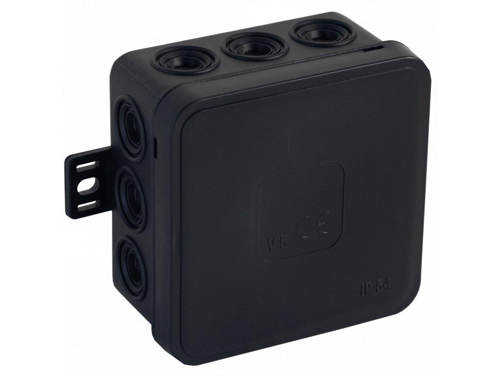035-05 černá-V5 Instalační krabice n/t 75x75 IP54 12-se závit. průchod. - víčko sys klik