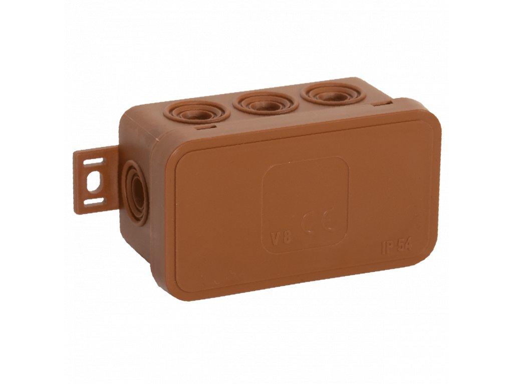 038-02 hnědá-V8 Instalační krabice n/t 80x45 IP54 8-se závit. průchod. - víčko sys klik