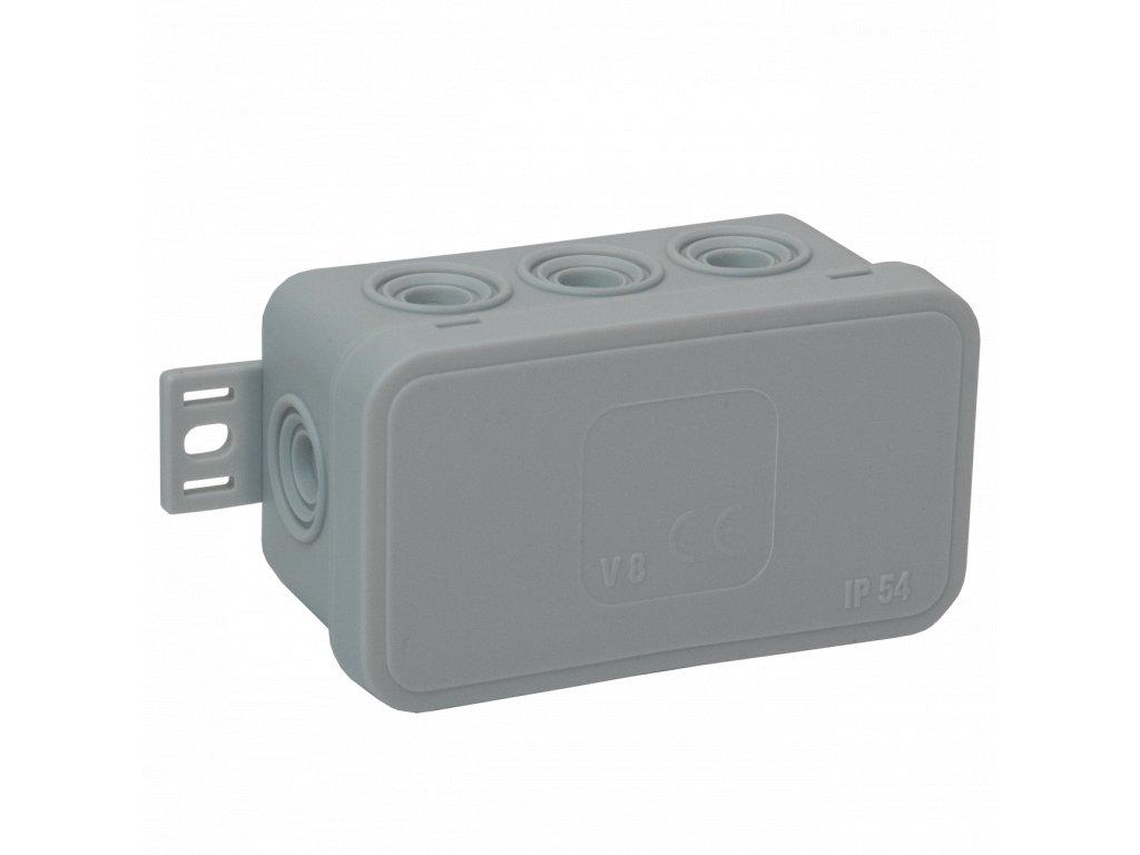 038-03 šedá-V8 Instalační krabice n/t 80x45 IP54 8-se závit. průchod. - víčko sys klik