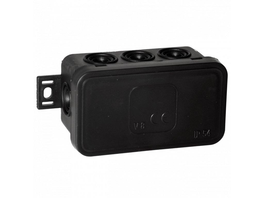 038-05 černá-V8 Instalační krabice n/t 80x45 IP54 8-se závit. průchod. - víčko sys klik