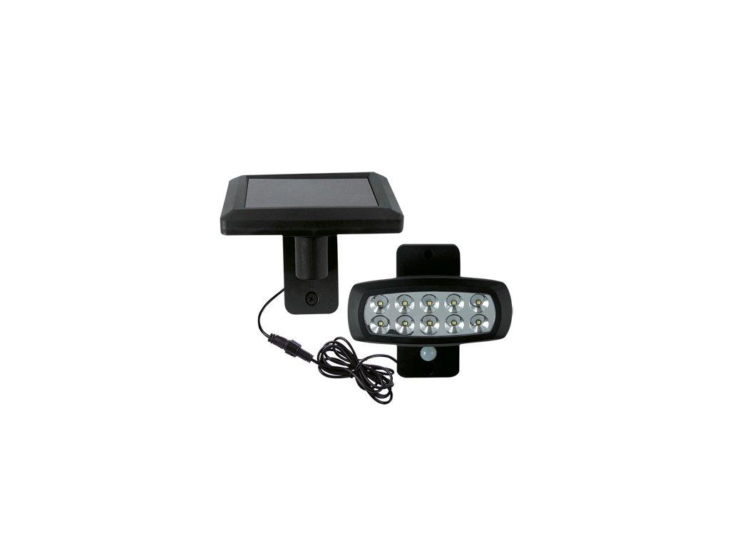 Zahradní solární reflektor SOLARO LED 2W 150lm 6500K IP44 120° pohyb. senzor černá