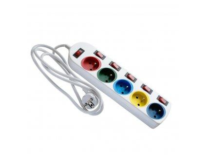 30416 eps 501 5w6 prodluzovaci kabel bily 6 vypinacu s uzemnenim barevne provedeni