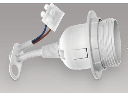 Držák žárovky E27, plast, bílý, s přívěskem a kabelem OE-27KZP