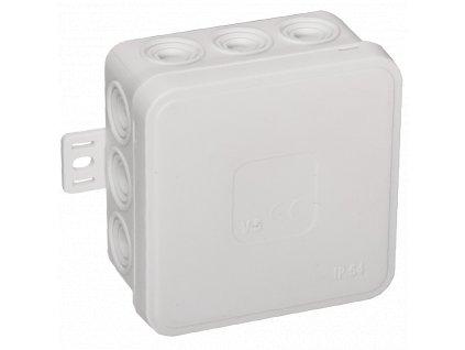 035-01 bílá-V5 Instalační krabice n/t 75x75 IP54 12-se závit. průchod. - víčko sys klik