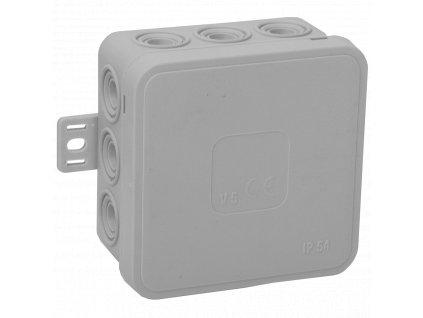 035-03 šedá-V5 Instalační krabice n/t 75x75 IP54 12-se závit. průchod. - víčko sys klik