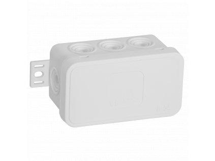 038-01 bílá-V8 Instalační krabice n/t 80x45 IP54 8-se závit. průchod. - víčko sys klik