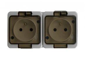 NT-6SL zásuvka dvojnásobná 2x2p+Z 16A/250V s kouřovým víčkem IP44 šedá