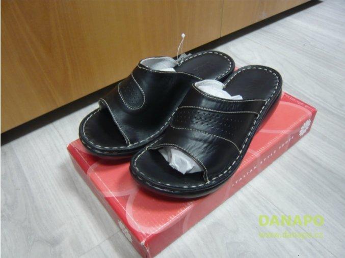 29782 damske kozene pantofle nazouvaky lina nero