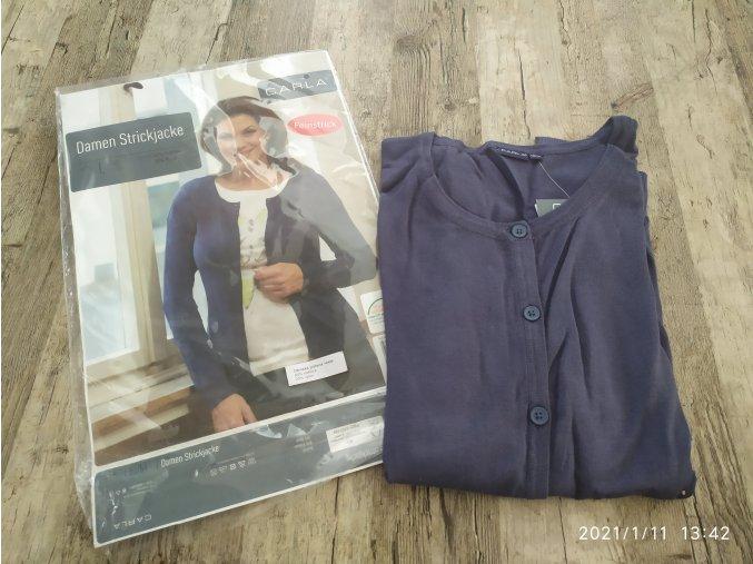 Dámský jemný pletený svetr rozepínací modrý Carla