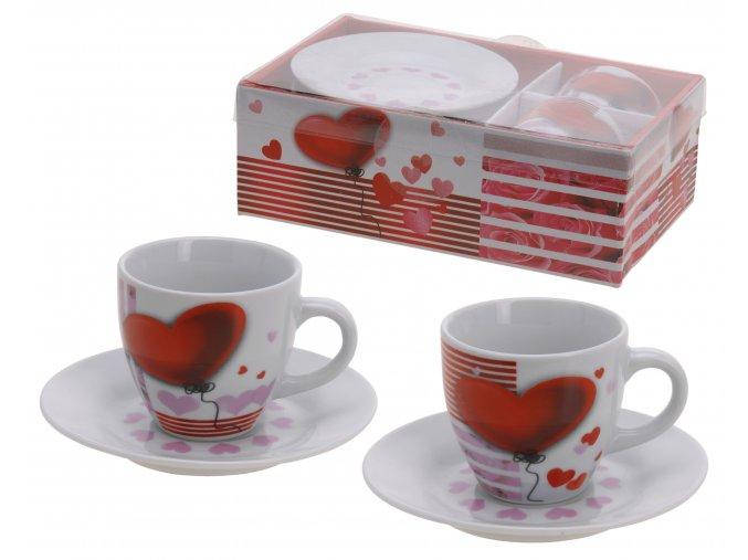 """Set na espresso """"Valentýn"""" 2 šálky s podšálkem"""