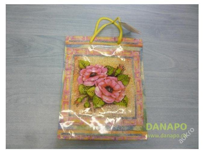 30367 darkova taska barevna s ruzovymi kvety
