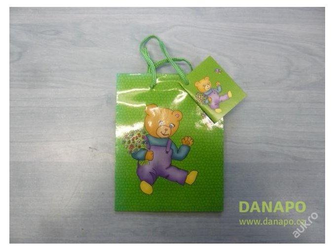 30409 darkova taska zelena s medvidkem