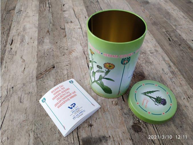 Plechová dóza na bylinky s postupy bylinných čajů