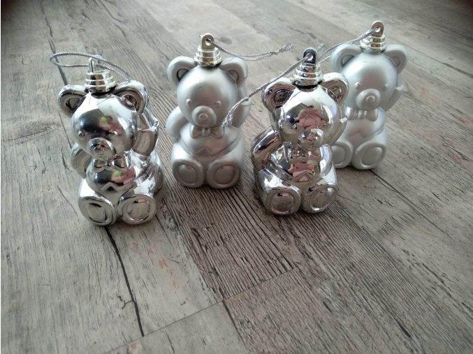 VÁNOČNÍ ZBOŽÍ Baňky - Stříbrný medvídek sada