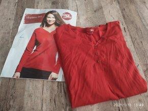 Dámské triko dlouhý rukáv knoflíky červené CARLA