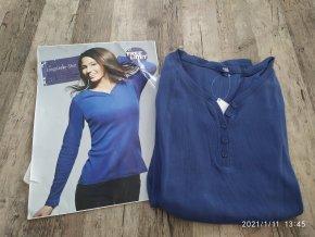 Dámské triko dlouhý rukáv knoflíky modré Carla