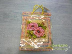 Dárková taška - Barevná s růžovými květy