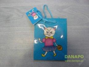 Dárková taška - Modrá s kočičkou