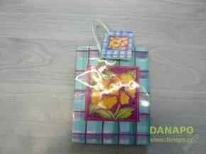 Dárková taška - Modro fialová s květinou