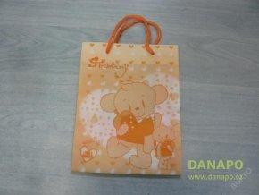 Dárková taška - Oranžová s medvídkem - malá -Noell