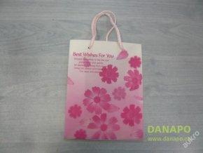 Dárková taška - Růžová s kytkami - malá -Noell
