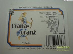 Limo etiketa -Diana-oranž - sodovkárna Uh.Hradiště
