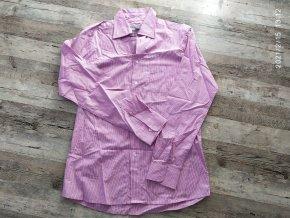 Philip Russel - Pánská košile dlouhý rukáv fialová, pruhy
