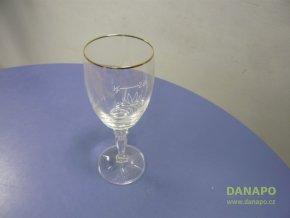 38905 sklenice na vino cejchovana se zlatym okrajem 2dl