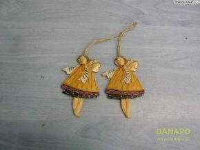 Vánoční dekorace - Sádrový andělíček Noell - 1 -