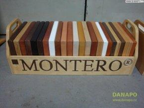 Vzorník odstínů masivních desek Montero v šuplíku