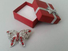 Krásná stará brož tvar stříbrný Motýlek s kamínky