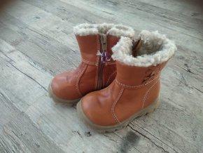 Dětské dívčí zimní boty kozačky Santé hnědé 21