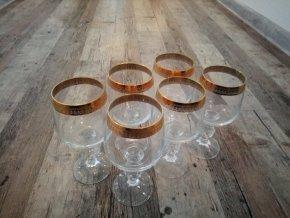 Zlacené sklenice na víno sada 6 kusů křišťál Bohemia