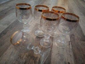 Zlacené sklenice na víno zdobené sada 6 kusů křišťál Bohemia