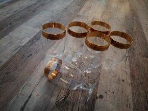 Zlacené sklenice na likér na stopce sada 6 kusů křišťál Bohemia