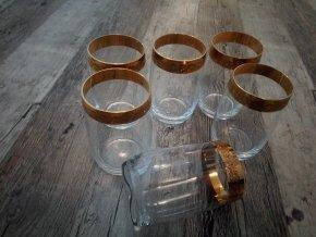 Zlacené sklenice na likér likérovka sada 6 kusů křišťál Bohemia