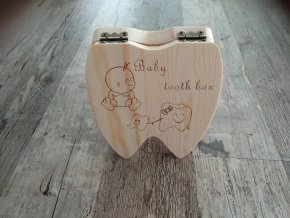 Dřevěná krabička na dětské zoubky s českými nápisy