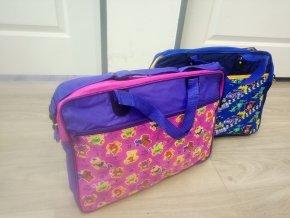 Školní dětská taška přes rameno modrá, růžová