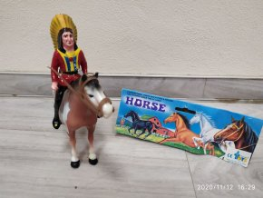 Vintage retro figurka kůň s indiánem