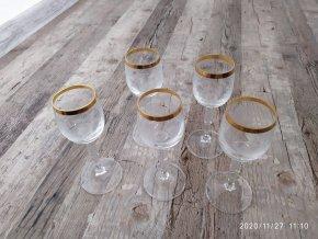 Zlacené sklenice na panáka frťan sada 5 kusů křišťál Bohemia