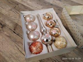 Vánoční ozdoby baňky se špicí skleněné růžové / oranžové