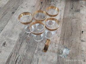 Zlacené sklenice na likér likérovka sada 6 kusů křišťál Bohemia 9cm